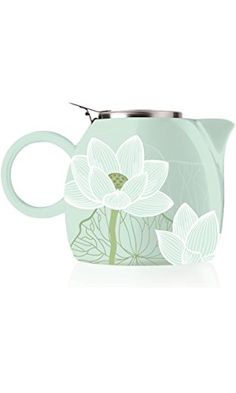 Tea Forte PUGG 24oz Ceramic Teapot with Tea Infuser, Loose Leaf Tea Steeping For Two, Lotus