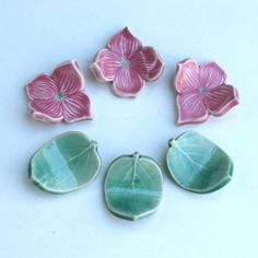 Ceramic ChopStick Rests Hand Made Set of Six Pink by sumiko2, $18.00