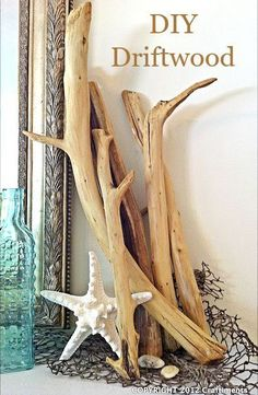 If you don't live near the beach, making your own driftwood is a great way to bring this rustic style to your home at (almost) no cost: http://www.completely-coastal.com/2015/09/how-to-make-driftwood.html