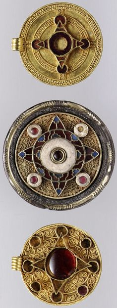 Three Anglo-Saxon pendants and brooch, gold & garnet inlay, early 7th century