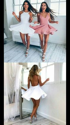 Simple Short White Dresses, Pink Homecoming Dresses, Cute Backless Short Homecoming Dresses