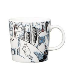 "The 2016 winter mug by Arabia is a beautiful winter design taken from the Moomin tale ""Moominland Midwinter"", featuring some of our favorite Moomin characters. The tale tells of Too-ticky who builds a snowhorse to entertain himself during winter, as he, unlike the other characters, does not hibernate.When Moomintroll sees the snowhorse he runs away in fear, but soon realizes that it is in fact Too-Ticky who has built it. Also featured are the adorable characters Hemulen and Sorry-oo. Moomin Shop, Moomin Mugs, Christmas Wishlist 2016, Christmas 2016, Moomin Valley, Tove Jansson, Christmas Mugs, Nordic Design, Tea Pots"