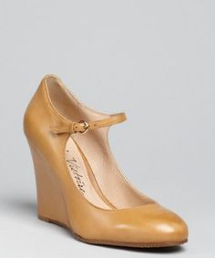 Pour la Victoire cognac leather 'Siri' buckle strap wedge pumps   BLUEFLY up to 70% off designer brands at bluefly.com