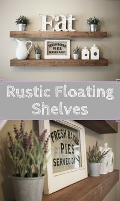 These beautiful wooden floating shelves are perfect for displaying decor in your home. Perfect for saving space while creating an eye catching piece with a rustic farmhouse feel. You will find that our shelves standout from the rest!  #farmhouse #rustic #shelves #homedecor #ad #etsy #interiors #farmhousestyle #rusticdecor