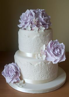 Lilac Roses and Lace Wedding Cake with hydrangea flowers.