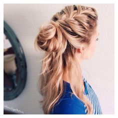 How to Half Up French Braid- Messy Bun ❤ liked on Polyvore featuring hair