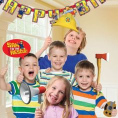 Kids Fireman Sam Photo Props - Photo Booth Props & Selfie Props (Pack of