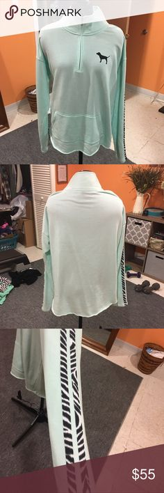PINK half zip Light aqua blue half zip with two zebra stripes down both arms. Has a raw edge hem. Only worn once and in great condition. NO TRADES Feel free to make me an offer ☺️ cheaper on merc@ri PINK Victoria's Secret Sweaters