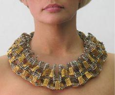 Sculptural Safety Pin Jewelry by Tamiko Kawata Safety Pin Art, Safety Pin Crafts, Safety Pin Jewelry, Safety Pins, Jewelry Art, Jewelry Necklaces, Fashion Jewelry, Jewelry Design, Jewellery