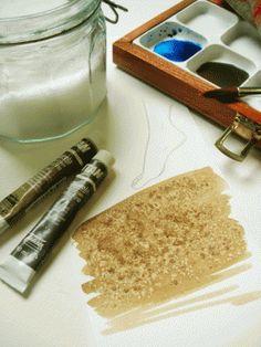 TEXTURAS DE ACUARELA Y SAL ¿Has probado alguna vez este efecto? Es muy sencillo: pinta con ACUARELA TITAN EXTRA FINA la superficie que quieras e, inmediatamente, antes de que la pintura empiece a secarse, espolvorea un poco de sal por encima de ella. El resultado será una textura arenosa que puede resultar ideal en muchísimas aplicaciones, tanto figurativas como abstractas.  Ficha de producto