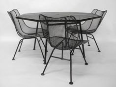 Wrought Iron and Mesh Table with Chairs by Russell Woodard at 1stdibs