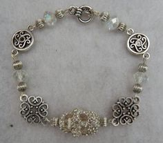 Silver Jeweled Skull Link Bracelet Jewelry Handmade Day of the Dead Accessories #Handmade #Chain