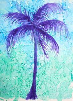 Magical Palm Tree original watercolor painting by janemayjones