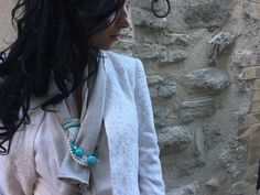 Scarves with jewels  Turquoise accessories  Women accessories  Elegant shawl