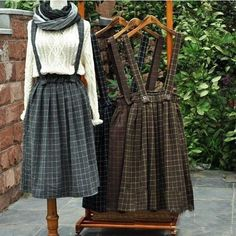 Mori Girl Vintage Thickening Plaid Brace Skirt With Belt – GuangZhou Deals - GZ Deals