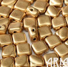 זהב דהוי: 6x6mm חרוזי זכוכית צ'כי יהלומים דו חור סילקי (50 חרוזים)