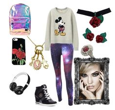 """Disney"" by lunaravenwolf9120 on Polyvore featuring Disney Couture, Uniqlo, Tommy Hilfiger, Spiral, Atelier Swarovski and Beats by Dr. Dre"