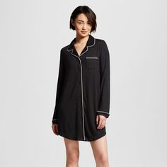 A cozy classic this Women s Sleepwear Fluid Knit Sleep Shirt in Black by  Gilligan and O 38f2c9065