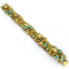 Vintage Art Deco Czech Peking Glass Ornate Gold Filigree Floral Bracelet | Clarice Jewellery | Vintage Costume Jewellery