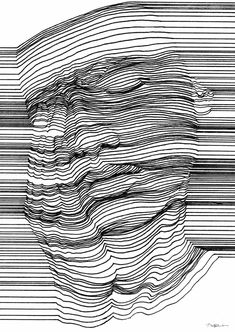 op art, printmaking, contour drawing, line drawing art, Optical Illusions Drawings, Illusions Mind, Illusion Drawings, 3d Drawings, Drawing Portraits, Op Art, Illusion Kunst, Optical Illusion Art, Pencil Portrait