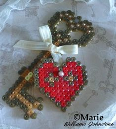 You are the key to my heart Valentine hama perler bead pattern design for Valentine's Day