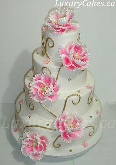 Peony wedding cake - by Sobi @ CakesDecor.com - cake decorating website