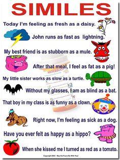 Similies | Flickr - Photo Sharing! English Class, English English, English Idioms, English Language Arts, English Vocabulary, English Grammar, Learn English, Teaching English, Teaching Poetry