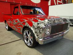 Red truck with skull art 67 72 Chevy Truck, Classic Chevy Trucks, Chevy C10, Classic Cars, C10 Trucks, Pickup Trucks, Truck Paint, Vintage Trucks, Car Wrap