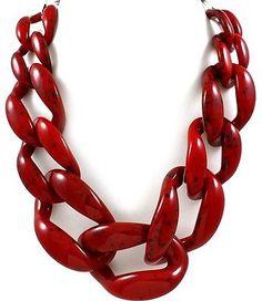 Designer Inspired Chunky Burgundy Link Statement Necklace