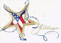 Patriotic Star - Holiday Greeting Cards- A star outlined in thick gold foil with the American flag in the middle dominates this bright white card. Blue ribbons and gold foil stars dance around it with the sentiment greetings. The Office Gal