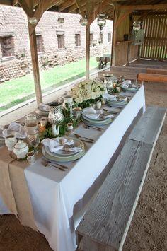 burlap & white wedding