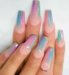 Unicorn Nail Art, Unicorn Nails Designs, Acrylic Nail Designs Glitter, Best Acrylic Nails, Pointy Nails, Coffin Nails, Disney Nails, Rainbow Nails, Birthday Nails