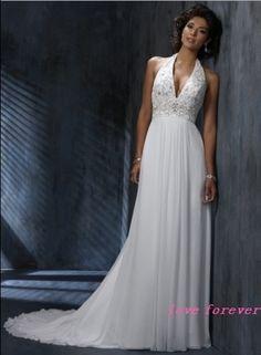 Sexy Hi-Lo A-Line Halter-Neck Wedding Dress