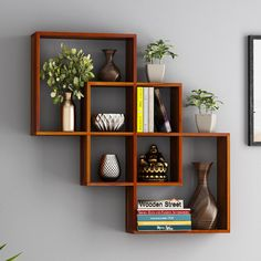 Buy Grizzo Wall Shelf (Honey Finish) Online in India - Wooden Street Wooden Wall Shelves, Wall Shelf Decor, Wooden Wall Decor, Wall Bookshelves, Shelves In Bedroom, Bookshelf Design, Wall Shelves Design, Decorative Wall Shelves, Living Room Wall Shelves