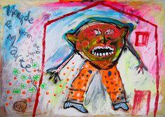 """""""Vienen de Marte"""" de Victoria Barranco @ VirtualGallery.com - Pintura acrílica en cartón de 105x75 cm (41.3x29.5 in). Arte marginal. Persona atemorizada en su casa esperando el desembarco de los marcianos. (2014)"""