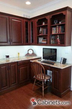 Built In Desk Area; cabinets featured are Deerfield Jupiter Cherry Java Coffee Glaze