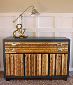 not my style, but it's a great example of using unusual materials to redo a piece of furniture