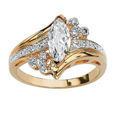 Marquise-Cut White Cubic Zirconia 14k Gold-Plated Engagement Anniversary Ring