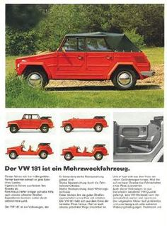 "German advertising, Volkswagen 181, Thing: ""The VW 181 is a multipurpose vehicle.."""