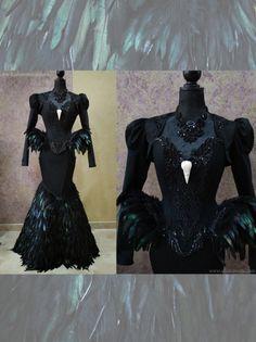 "miss-martini-corsets: ""Black Swan Haute Goth Corset Dress ~ Gothic Feathers Raven Skull Bird Costume ~ Vampire Wedding Ball Masquerade ~ Halloween Outfit Corsetry """