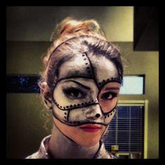 The Tin Man costume makeup for Wizard of Oz!