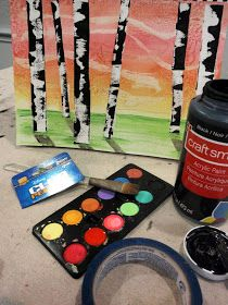 Here's an art project you'll be proud to hang on your wall for years to come!  Masking tape, water-colours, paint and oil pastels all come together in this gorgeous birch tree pic - tutorial at whatdoodle.blogspot.co.uk