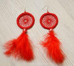 Dreamcatcher Earrings - Dream Catcher Earrings, Red Feather Earrings, Dangle Earrings  Handmade Dreamcatcher Dangle Earrings with earring hoops.