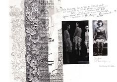 Fashion Sketchbook - fashion design development with lace and texture research; fashion portfolio // Lydia Freeborn