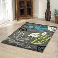 grey and blue rugs | Rugs - Modern - Stunning Thick Leaf Rug Blue Grey 290x200cm photo 1