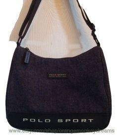 vintage RALPH LAUREN denim Polo sport shoulder blue jean MEDIUM bAG hipster  indie boho a0e600fe71cc8