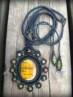 日本より発送♪大ぶりタイガーアイ&ユナカイトのマクラメ編みデザインネックレス*ボヘミアン*パワーストーン - Tuwa Earth Crafts