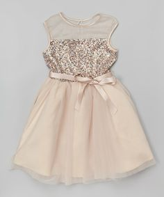 7ea79f925e Look what I found on  zulily! Zunie  amp  Pinky Gold Sequin Tulle Dress