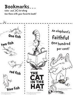 Dr. Seuss bookmarks! I'm giving these to my students on Dr. Seuss day.