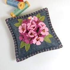 Flower Pincushion / Small Pillow - Beaded Pink Flowers Hand Embroidered on Grey Wool Felt